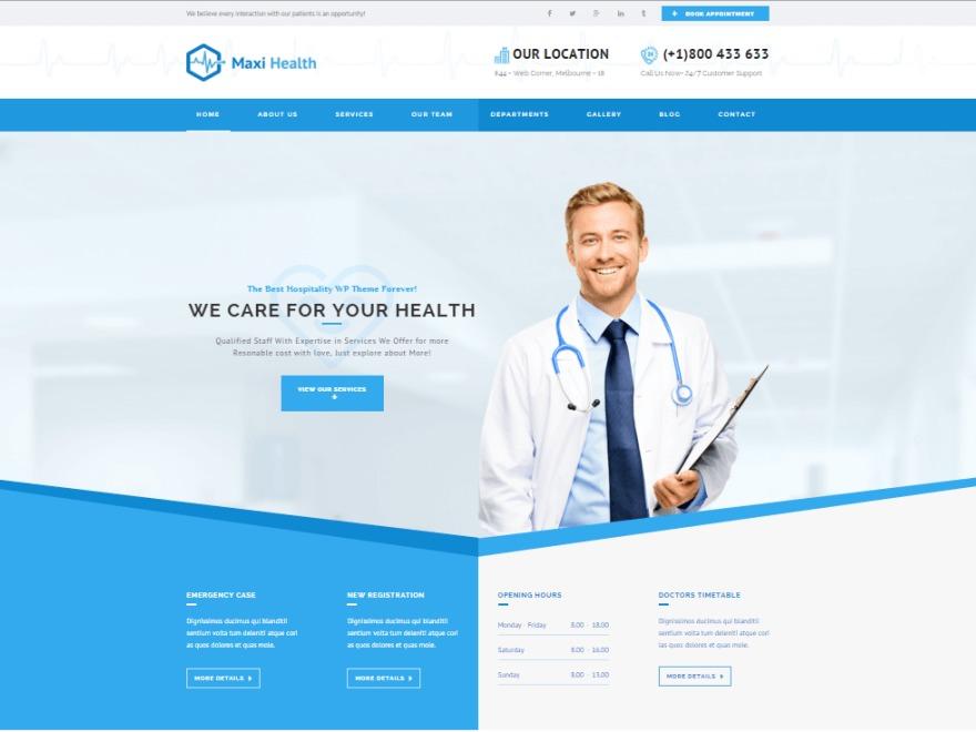 Maxi Health WordPress theme design