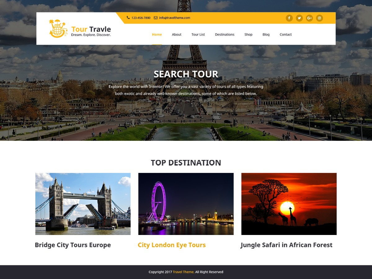Tours and Travels free WordPress theme