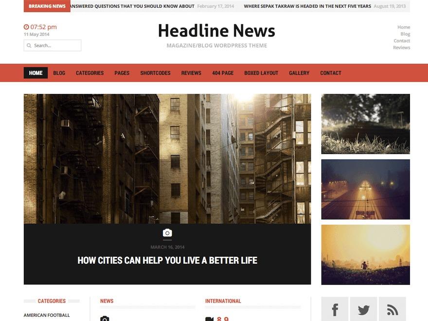 Headline News newspaper WordPress theme