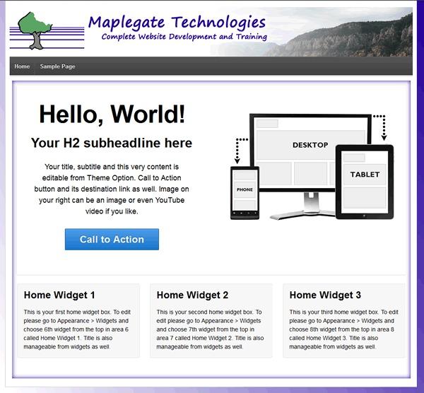 Responsive full width featured area Child Theme WordPress theme design