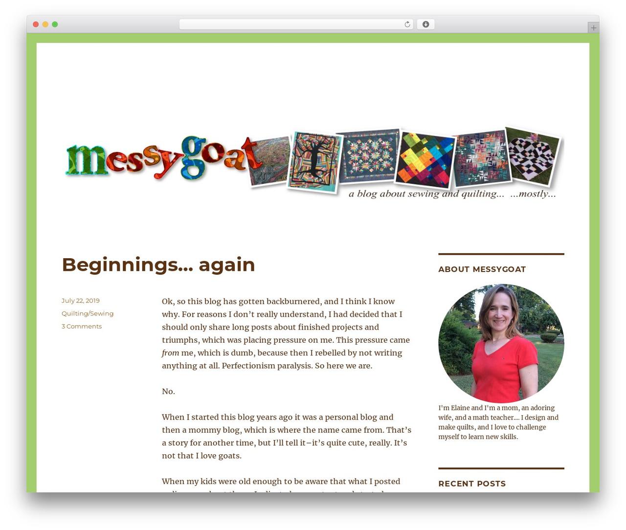 Twenty Sixteen WordPress template free download - messygoat.com