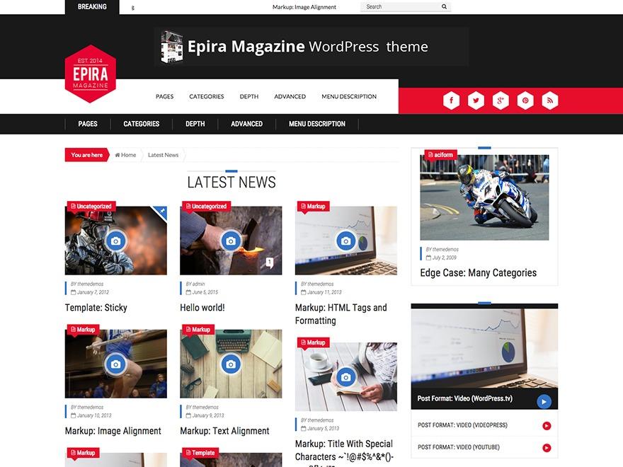 Epira Lite_child newspaper WordPress theme