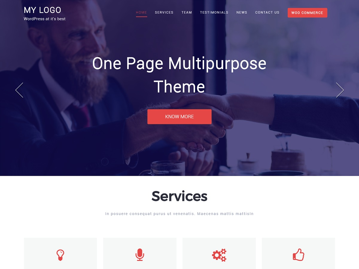 One Page Multipurpose WordPress ecommerce template