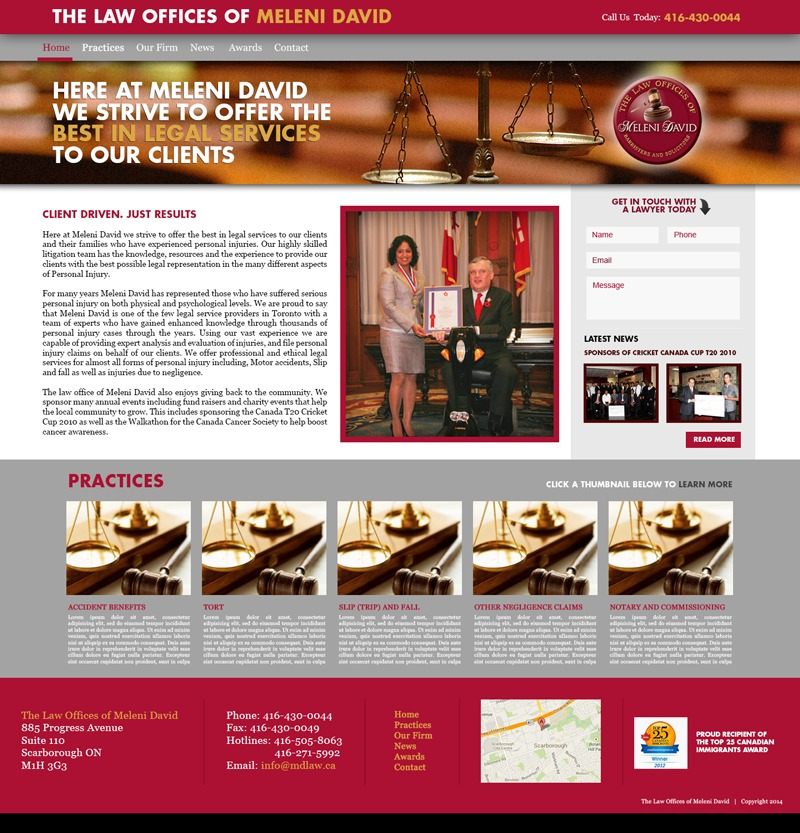 WordPress template Meleni David Law by Surround Integrated