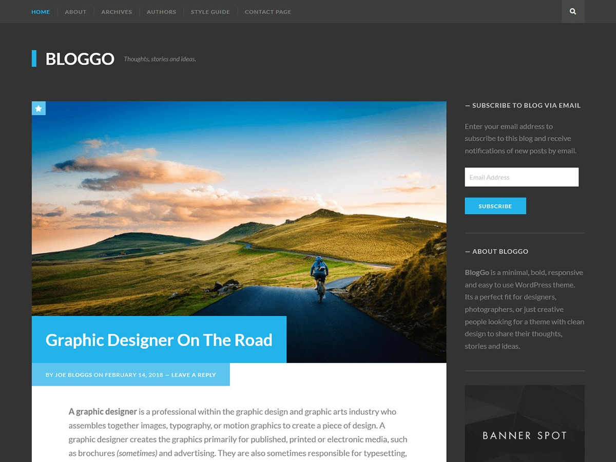 Bloggo WordPress blog template