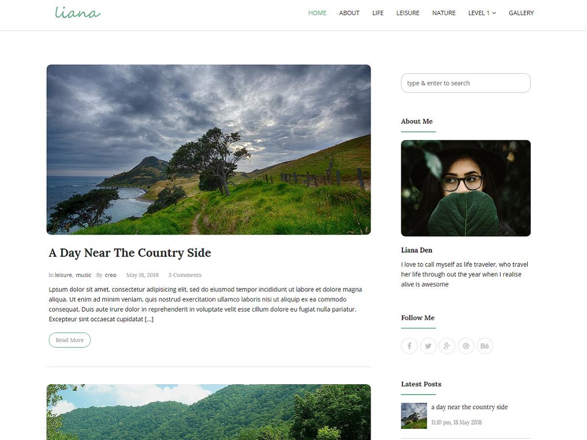 Liana WordPress theme design