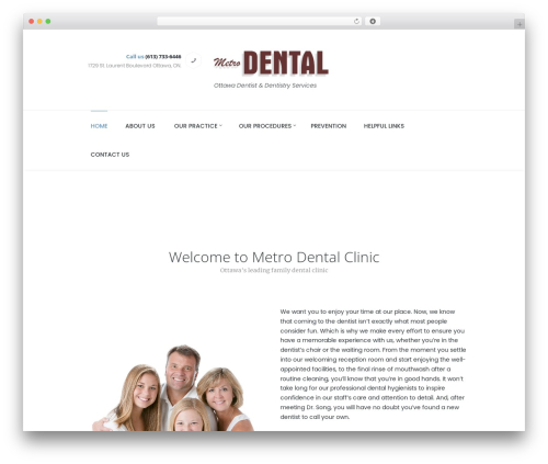 WordPress theme Dentario - metrodentalclinic.com
