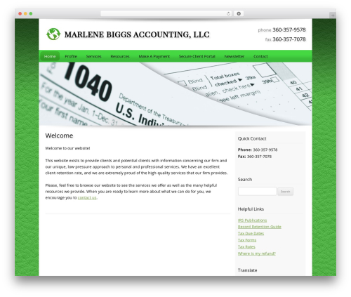 Customized company WordPress theme - marlenebiggs.com