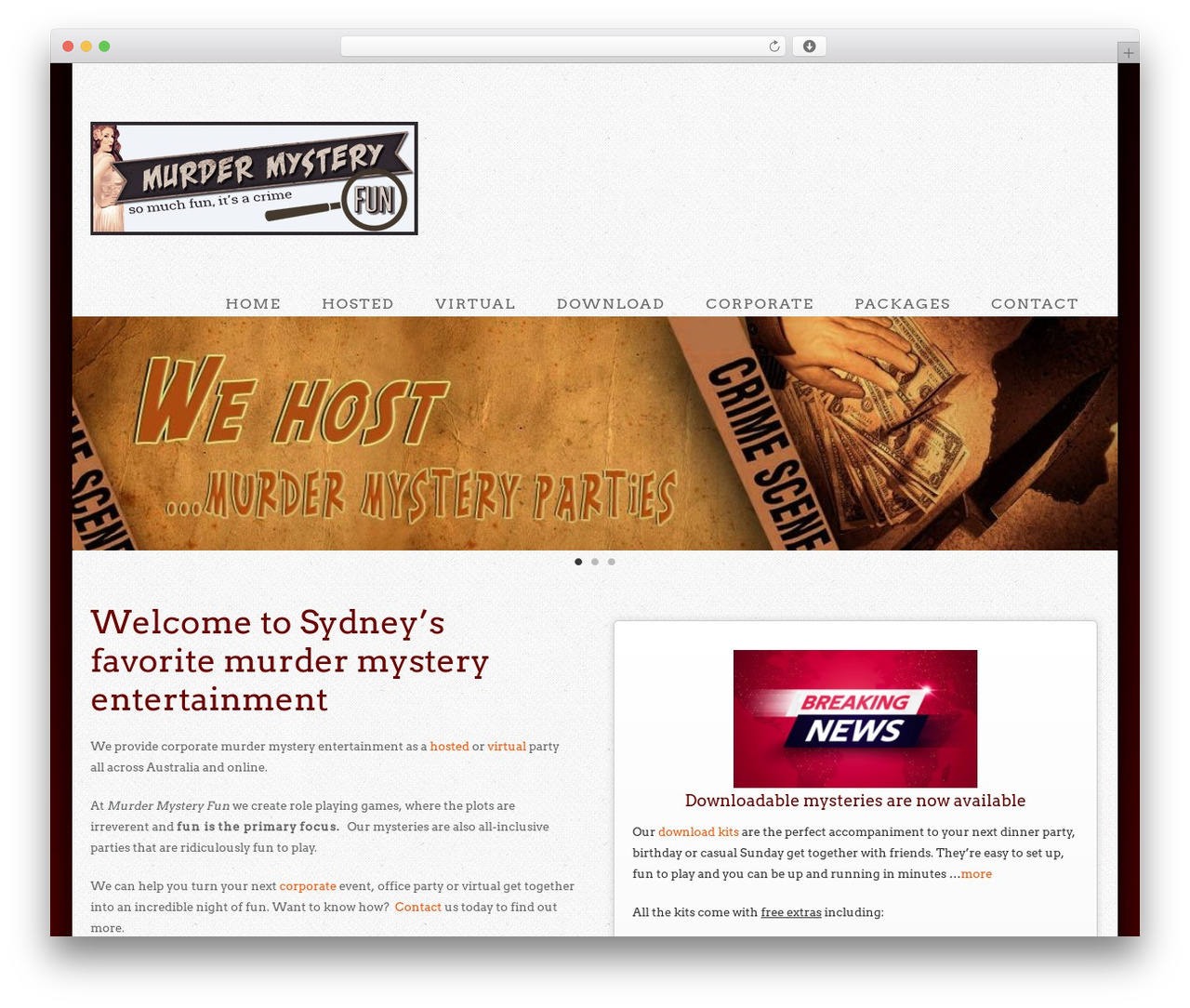 Extinct best WordPress template - murdermysteryfun.com.au