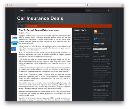 Devin WordPress website template - mycarinsurancedeals.com