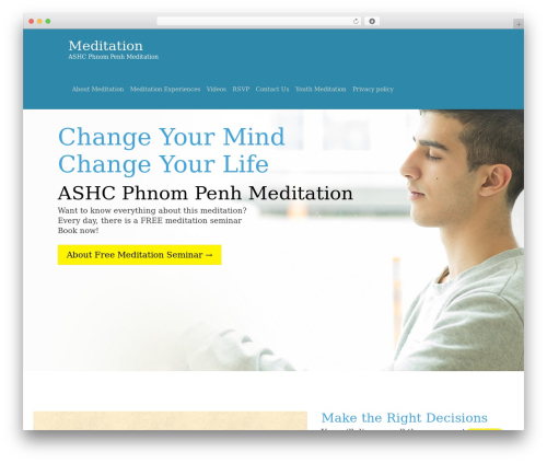 One Page Meditation Guide premium WordPress theme - meditationcambodia.org