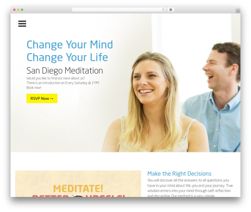 WordPress theme One Page Meditation Guide - meditationsandiego.org