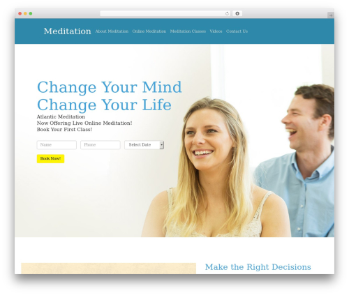 Best WordPress theme One Page Meditation Guide - meditationlb.org