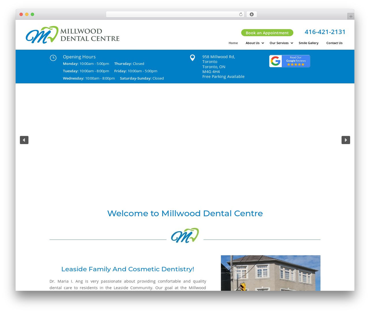 Divi WordPress theme - millwooddentalcentre.com