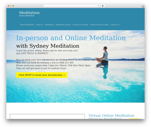 One Page Meditation Guide best WordPress template - meditationsyd.org