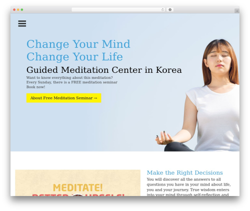 One Page Meditation Guide best WordPress theme - meditation-trip.org