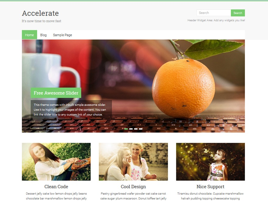 Accelerate Child WP template