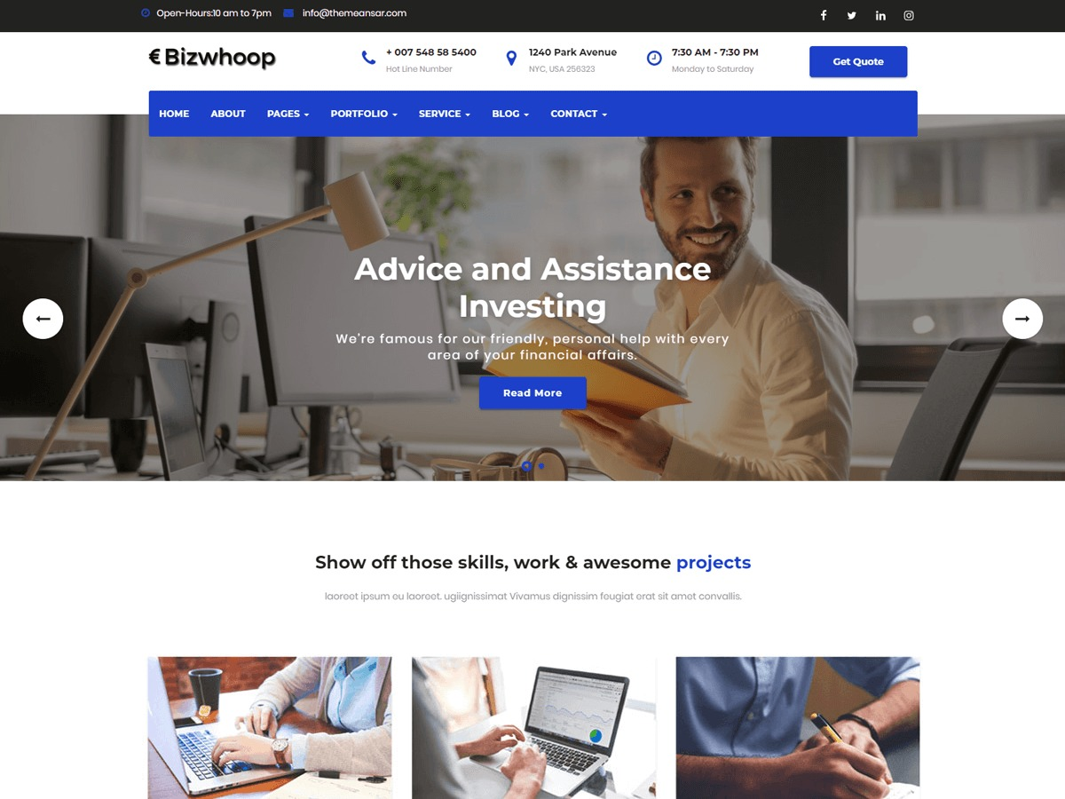 Bizwhoop business WordPress theme