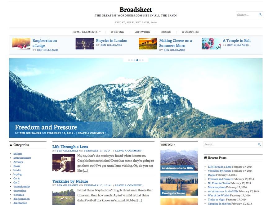 Broadsheet WordPress magazine theme