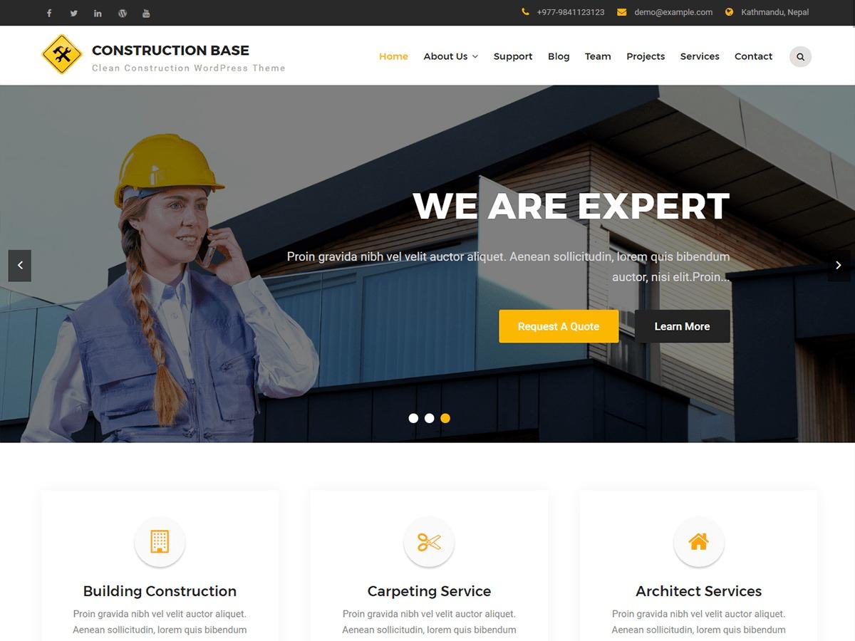 Construction Base free website theme