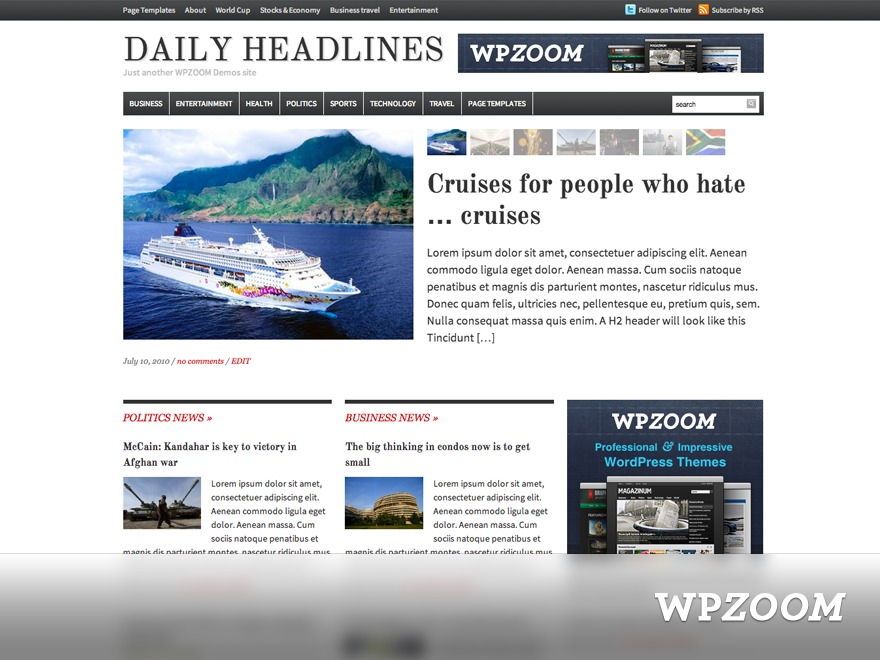 Daily Headlines premium WordPress theme