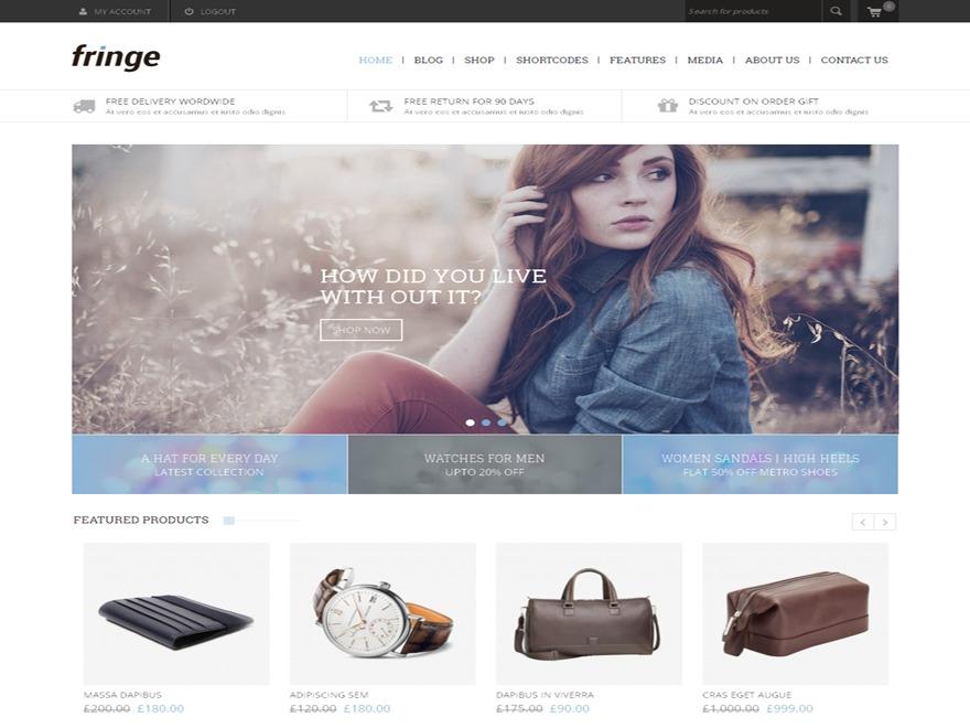 Fringe WordPress news template