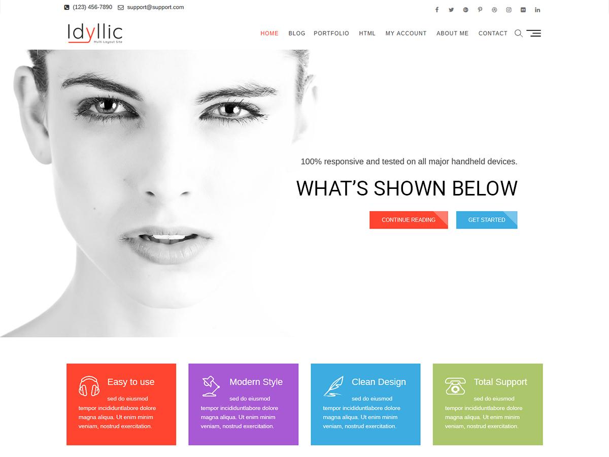 Idyllic personal WordPress theme