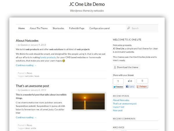 JC One Lite WordPress theme