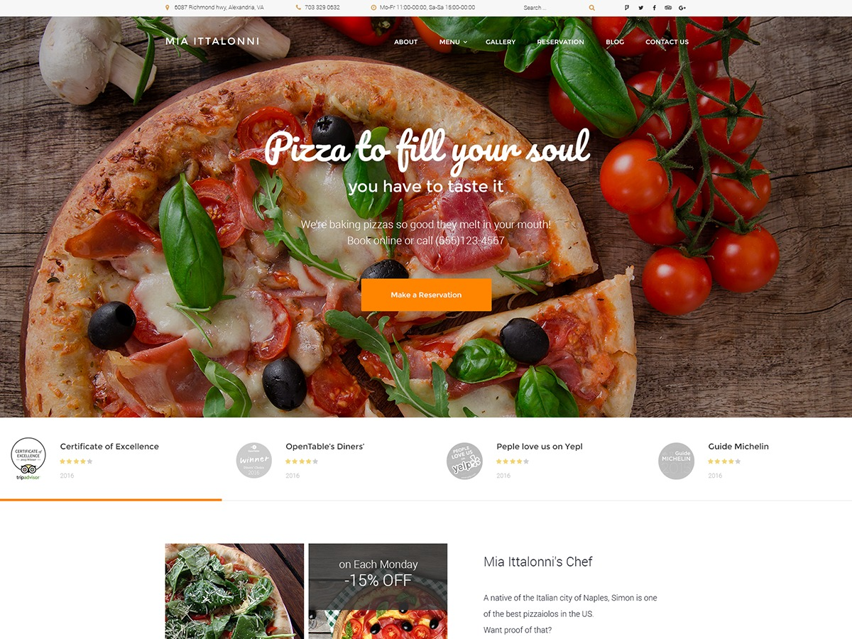 Miaittalonni WordPress restaurant theme