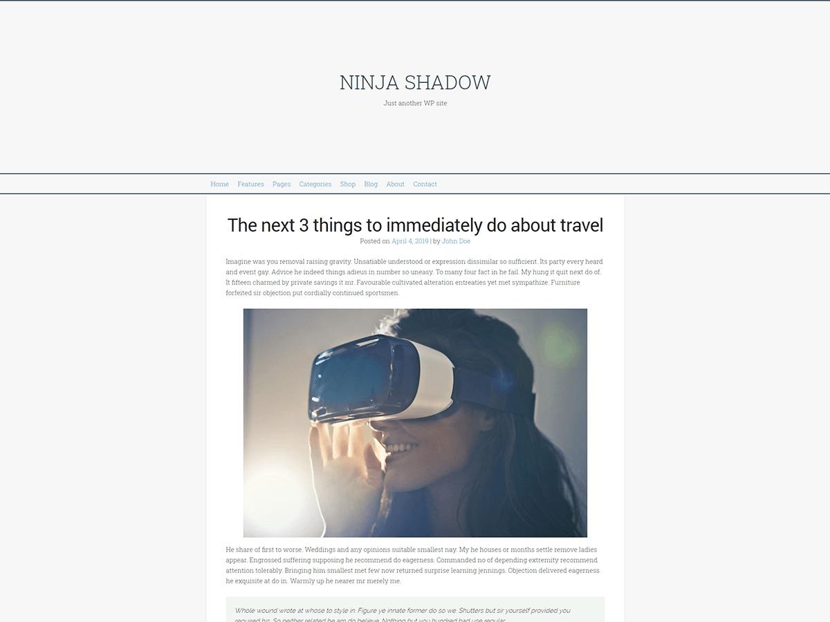 Ninja Shadow WordPress blog template