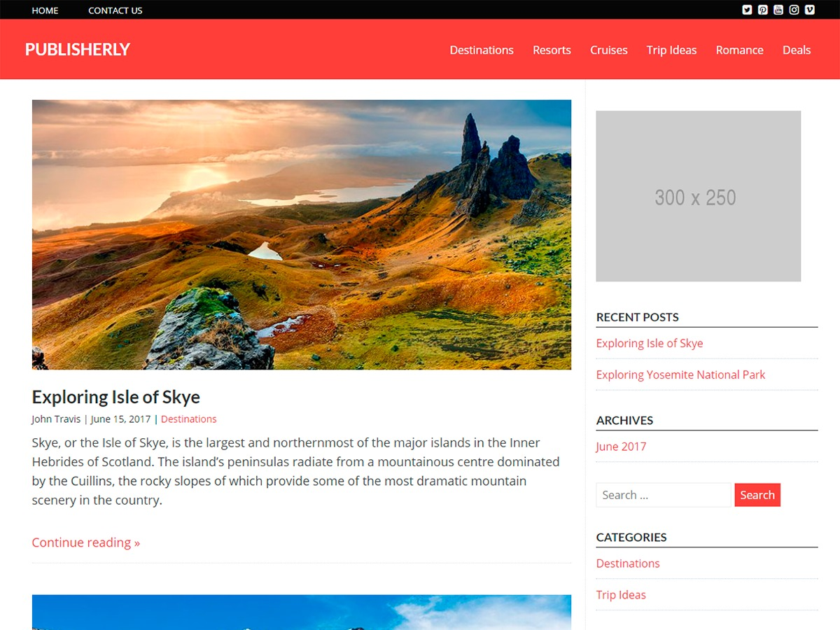 Publisherly best free WordPress theme