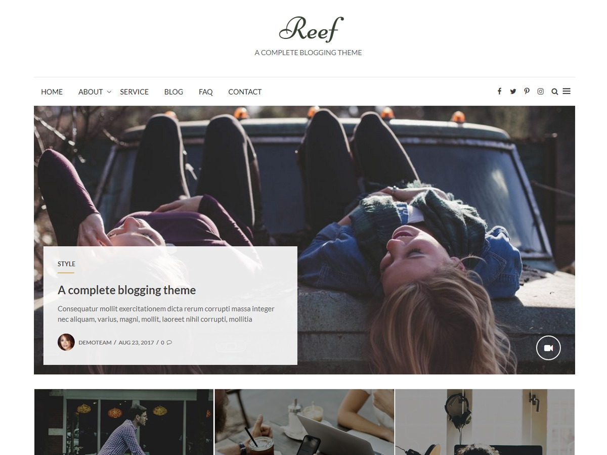 Reef WordPress news template