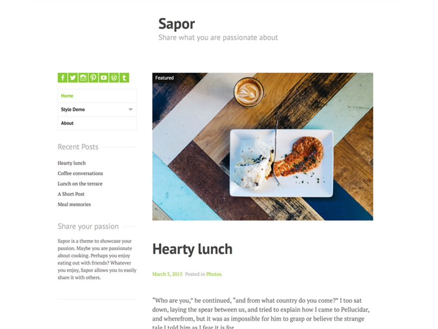 Sapor template WordPress free