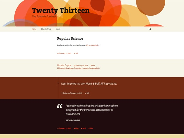 Twenty Thirteen WordPress blog template