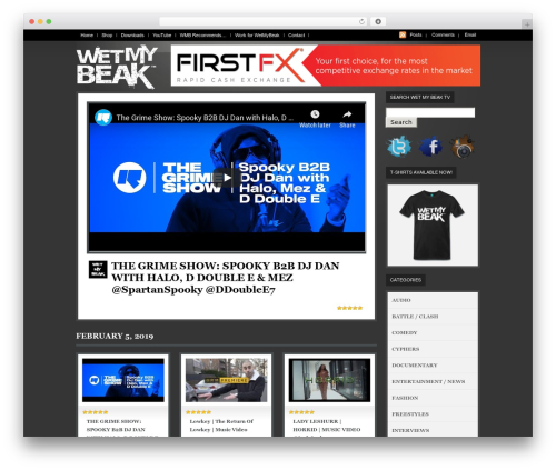 WordPress theme WooTube - wetmybeak.tv