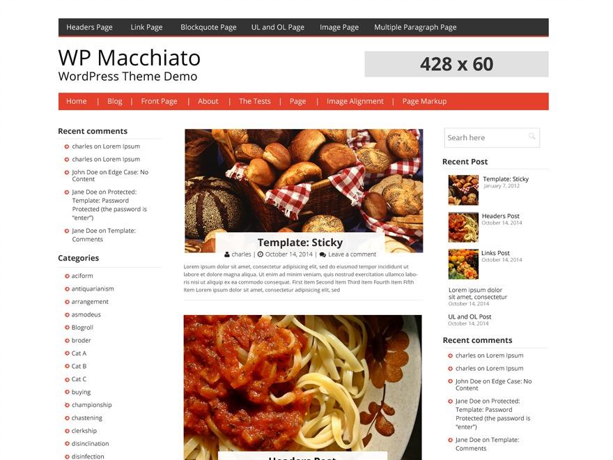 WP Macchiato Child WordPress blog template