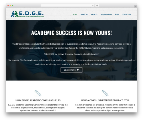 Aperture WordPress page template - myedgegroup.com
