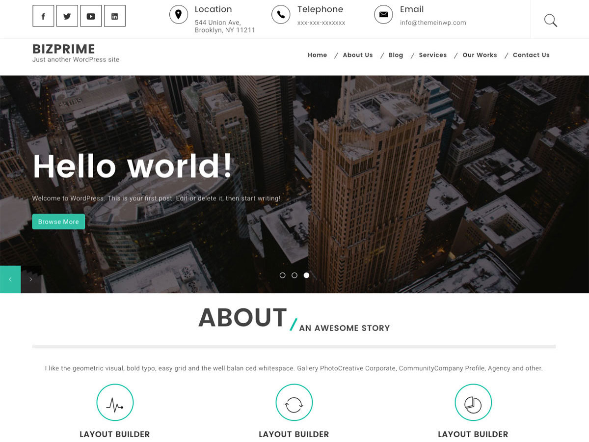 Bizprime WordPress portfolio theme