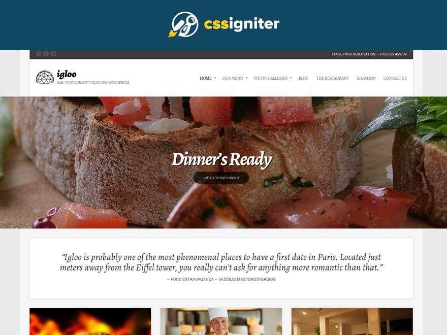 Igloo best restaurant WordPress theme