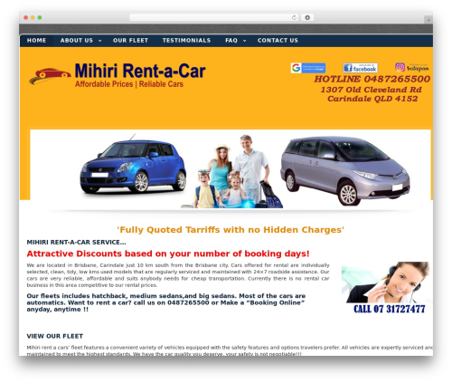 WordPress car plugin - mihirirentacar.com.au