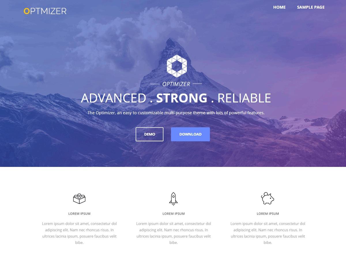 Optimizer WordPress landing page
