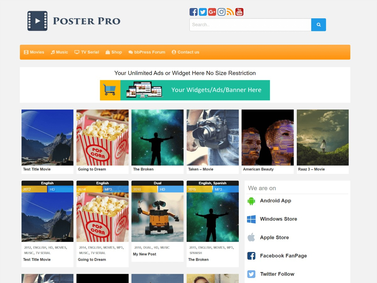 Poster best WordPress magazine theme
