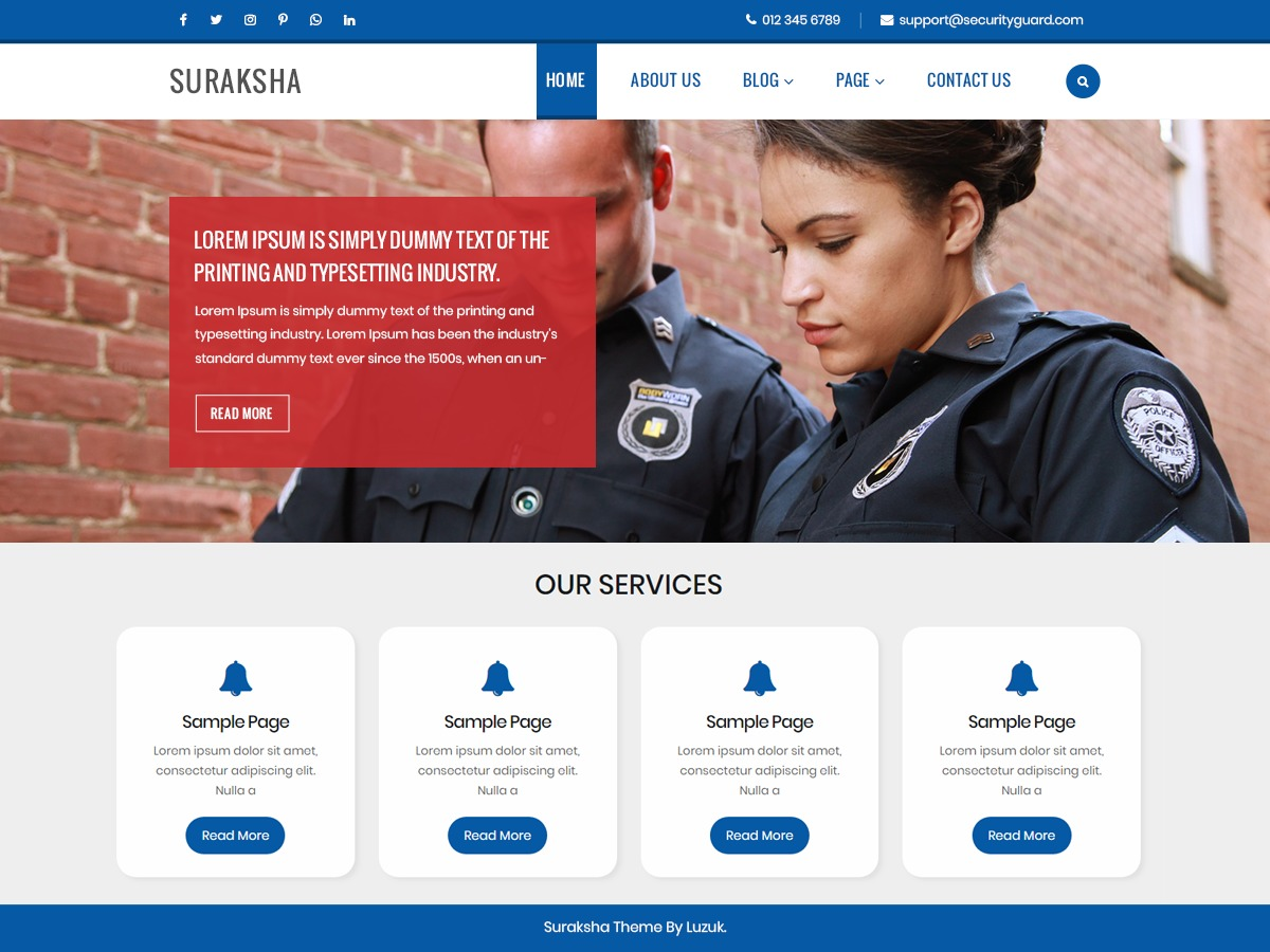 Suraksha Security Guard WordPress blog theme