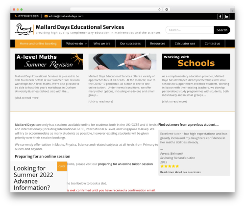 WP theme Education Hub - mallard-days.com