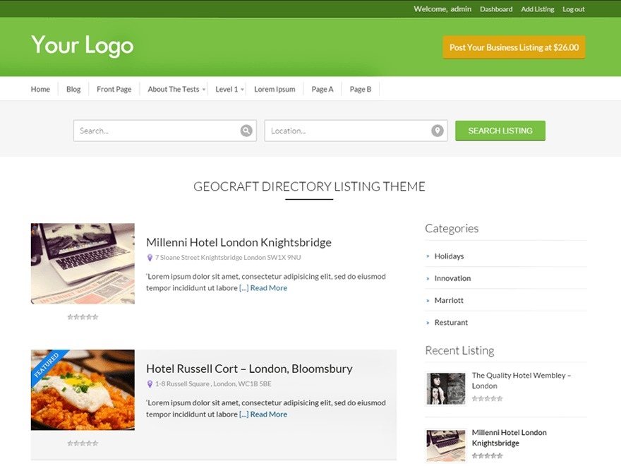 Business Directory Free WP Theme
