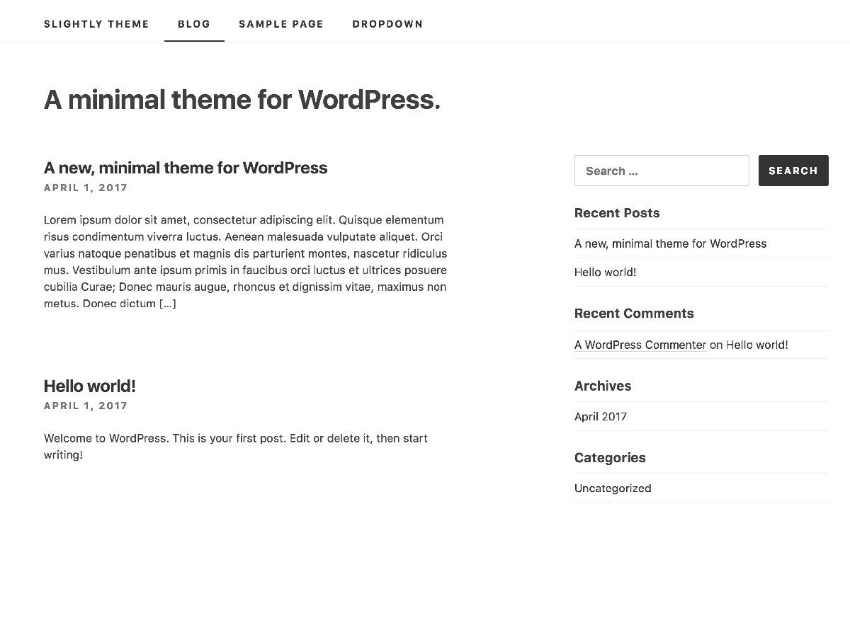 WordPress website template Slightly