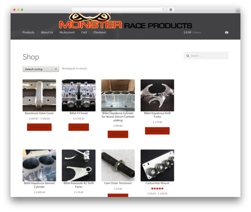 WP template Storefront - monsterraceproducts.com