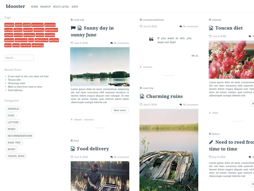 blooster WordPress blog template