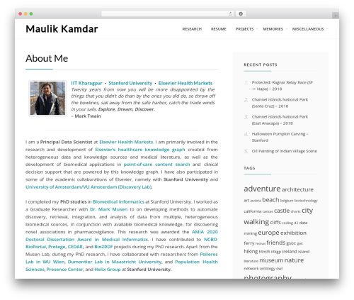 Cell WordPress template - maulik-kamdar.com