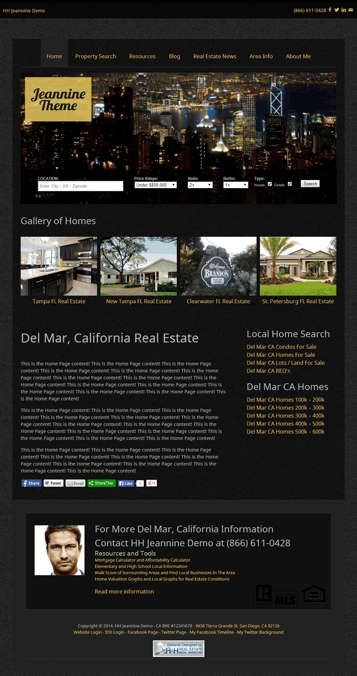 H&H Jeannine Theme real estate template WordPress